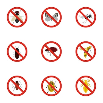 Insects sign set, flat style
