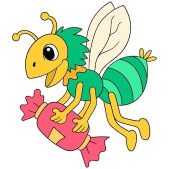 달콤한 음식을 좋아하는 곤충은 사탕, 벡터 일러스트레이션 아트로 날아갑니다. 낙서 아이콘 이미지 귀엽다.