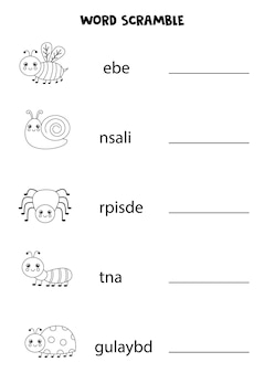 Insects word scramble for kids. sort letters into correct order. worksheet for children.