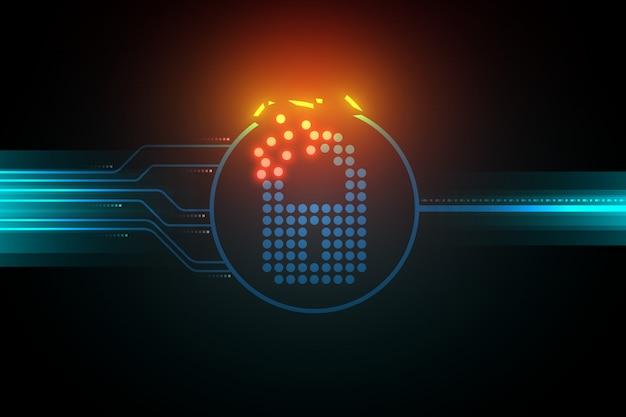 安全でないサイバーセキュリティシステムの図、壊れたロックシンボル、暗い背景に光回路。