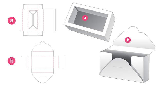 Insert box and cardboard wrapping die cut template