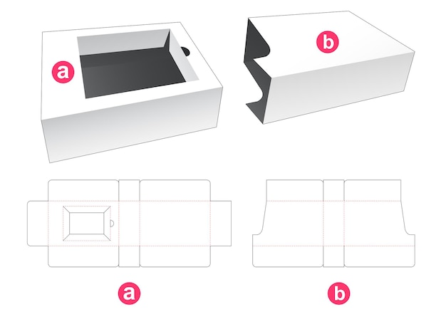 Insert box and sliding cover die cut template