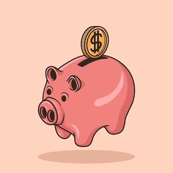 돼지 저금통에 동전 삽입 귀여운 핑크 돼지 은행 개체 개념 만화 아이콘 벡터
