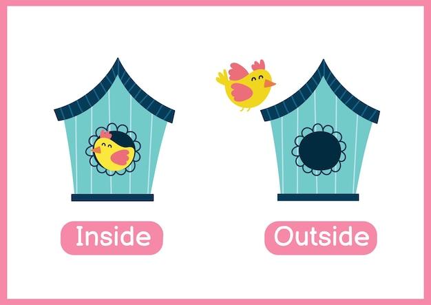 内側と外側の反対の形容詞教育単語カード