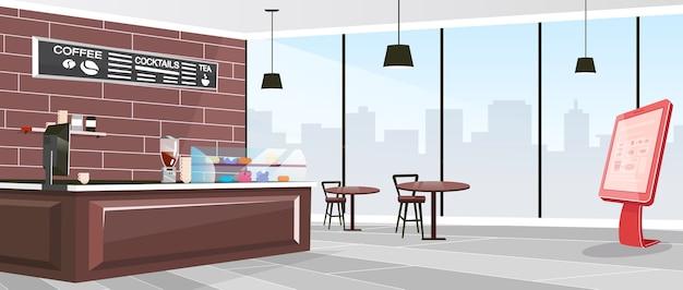 Inside cafeteria flat color illustration