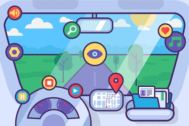 Салон автомобиля с колесным спидометром gps-навигатор