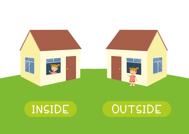 Inside and outside. illustration for children as a teaching aid