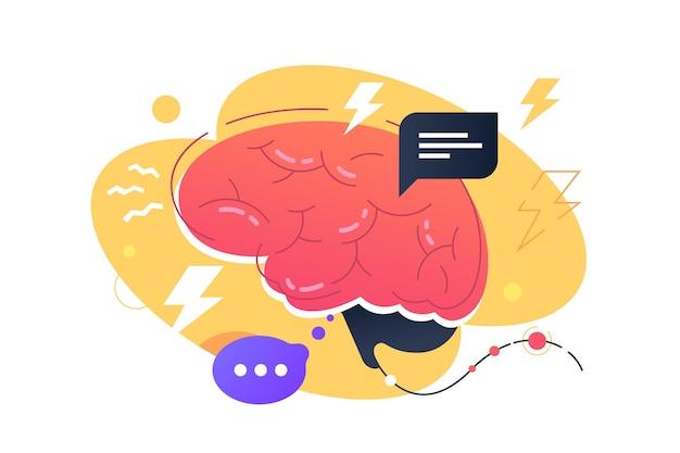 Иллюстрация внутреннего мозга человека. стилизованный взрослый мозг. красочный человеческий орган. концепция работы без остановок. изолированные