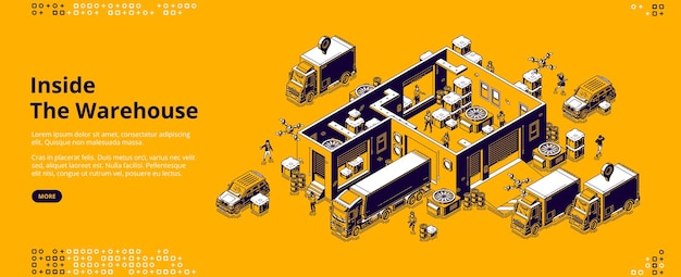 Inside warehouse isometric landing page