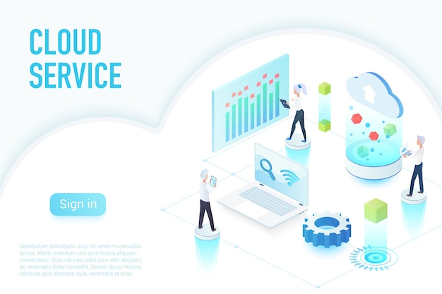 Inside work process of cloud service, big data website page isometric  illustration