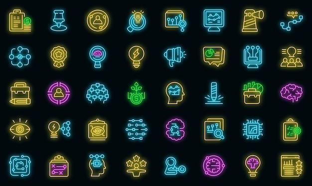 Insight icons set outline vector. generation brainstorm. curiosity problem