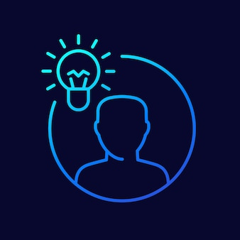 Insight line icon, lightbulb and man vector