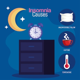 Insomnia causes clock on furniture and moon design, sleep and night theme