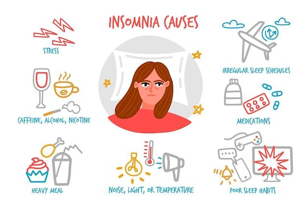 不眠症は手描きデザインを引き起こします