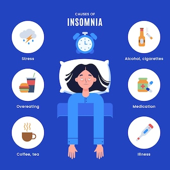 Insomnia causes illustration concept