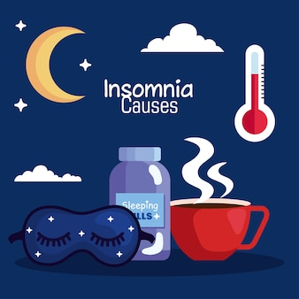 Insomnia causes mask pills jar and caffeine cup design, sleep and night theme