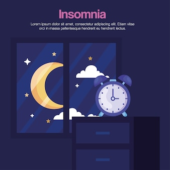 Insomnia clock on furniture and moon at window design, sleep and night theme