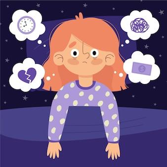 不眠症の概念を覚醒している女性