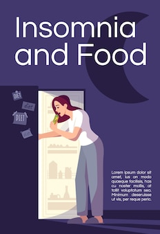 Insomnia and food poster template. woman health, emotional eating commercial flyer design with semi flat illustration. stress management vector cartoon promo card. advertising invitation