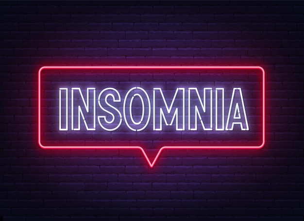 Insomnia neon sign on brick wall