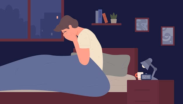 Insomnia at night sleep mental disorder unhappy tired person awake in fear in bed