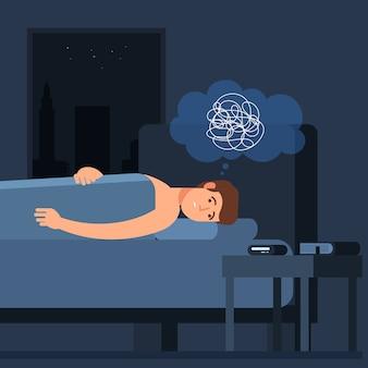 불면증 문제. 잠자는 남자 벡터 문자. fatidue, 수면 장애 개념