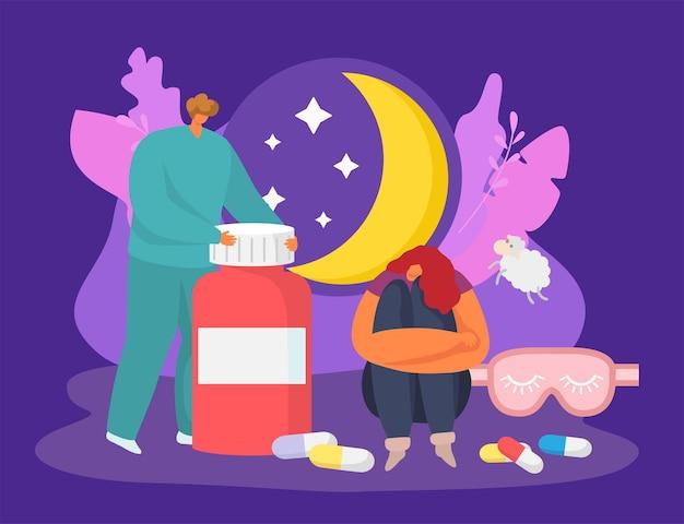 수면 개념 벡터 일러스트레이션 여성 캐릭터의 불면증 문제는 잠 못 이루는 밤 남자 의사가 있습니다.