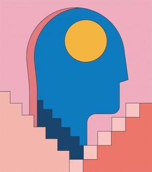 불면증, 출입구 및 추상 아키텍처 계단으로 인간의 머리 실루엣 심리학 정신 건강 개념 그림. 미니멀 유행 스타일의 일러스트.
