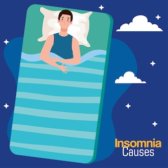 Insomnia sauses man on bed with pillow and clouds design, sleep and night theme