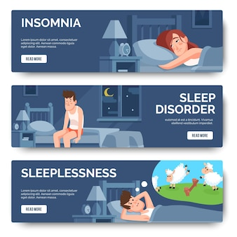 Insomnia, sleep disorder isolated banner set