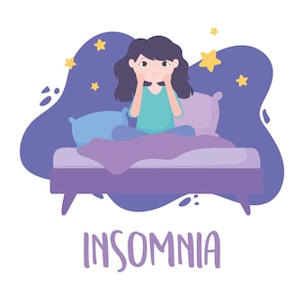 Insomnia, sleepless girl on bed with eye bags vector illustration