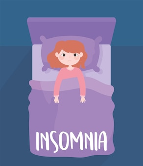 Insomnia, worried girl on bed sleepless, top view vector illustration
