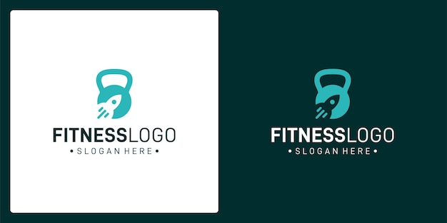 Inspiration for the barbell logo and the rocket logo. premium vector
