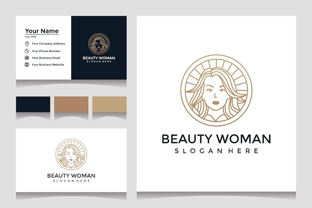 Inspiration. feminine beauty woman logo design template with line art style and business card design