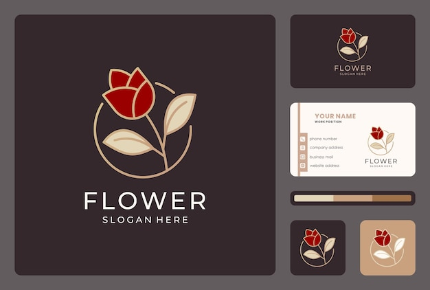 Inspiration flower, floral, nature logo design with business card.