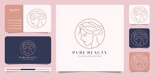 美しいフェイスラインアートスタイルのインスピレーション。ロゴと名刺のデザイン。ビューティーサロン、マッサージ、雑誌、化粧品、スパの抽象的なデザインコンセプト。