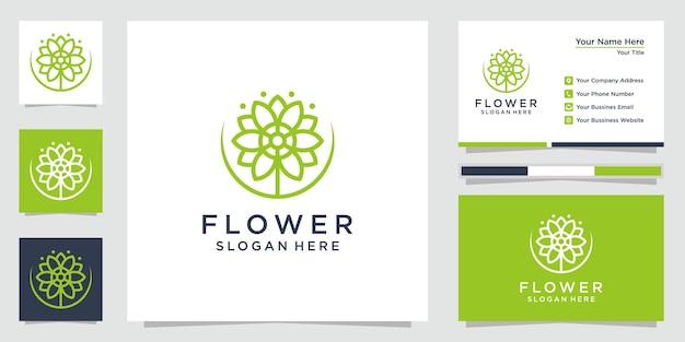 창의적인 꽃 로고 꽃 로고 아이콘 및 명함에 대한 영감