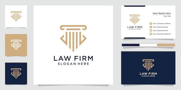 クリエイティブな法律事務所のロゴのインスピレーション。法のデザインのロゴ、アイコン、名刺。プレミアムベクトル。