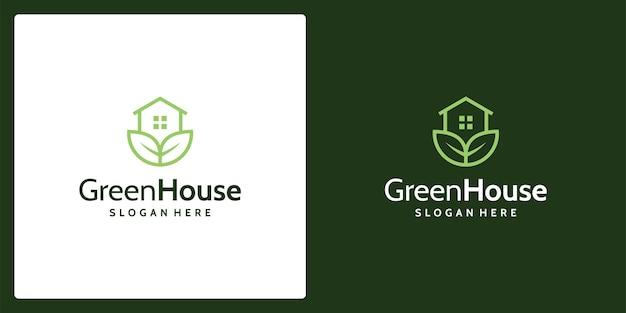 집 건물 로고 및 식물 로고에 대한 영감. 프리미엄 벡터