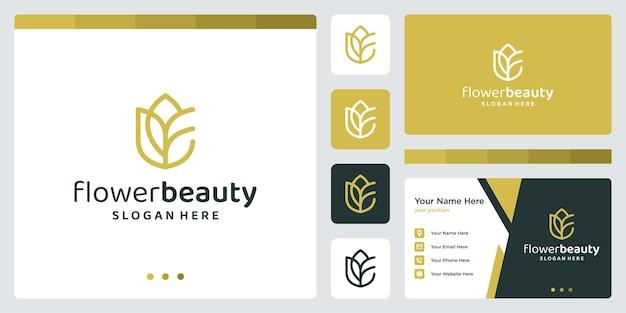 장미 로고가 있는 이니셜 f에 대한 영감. 명함 디자인