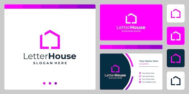 頭文字がlの家の形のインスピレーションベクトルプレミアム