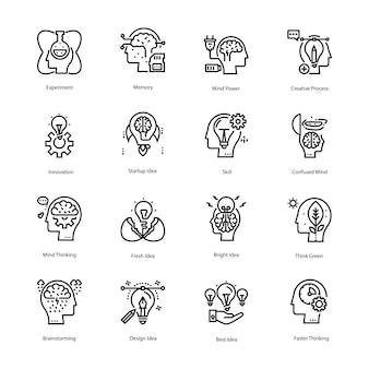 Inspiration and idea line icons