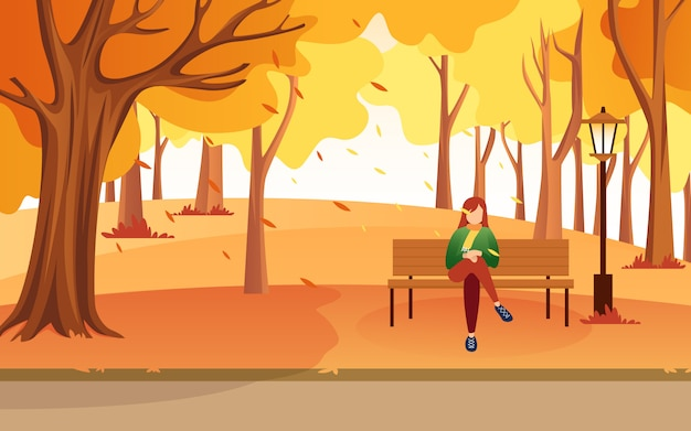 Inspiration of illustration vector flat design when a woman was walking around with her dog to spend her free time on autumn.