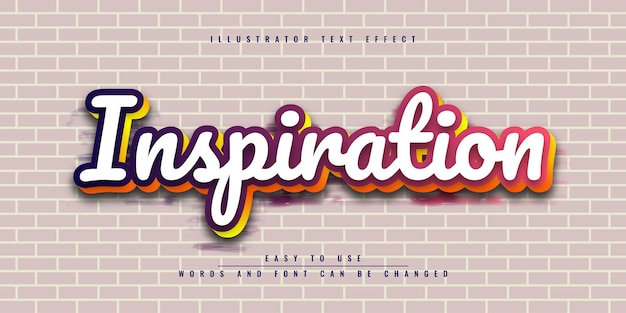 Вдохновение иллюстратор редактируемый красочный текстовый эффект дизайн