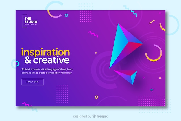Inspiration landing page with geometric shapes