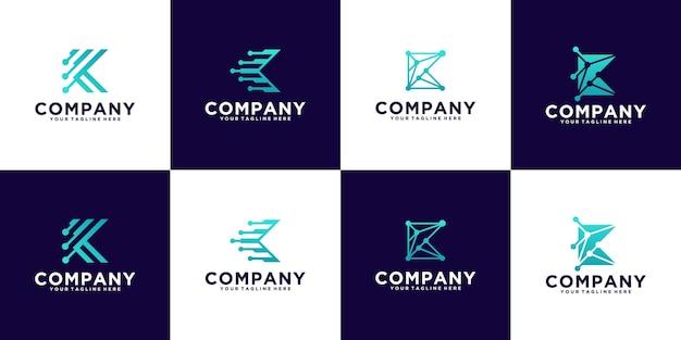 Inspiration for the letter k technology monogram logo collection