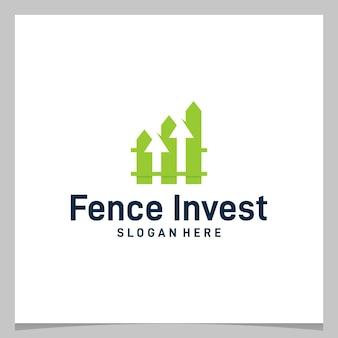 성장 화살표 또는 투자 금융 로고가 있는 영감 로고 디자인 울타리. 프리미엄 벡터