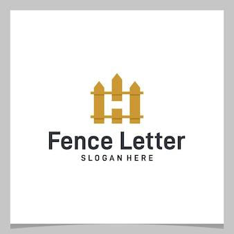 초기 문자 h 로고가 있는 영감 로고 디자인 울타리. 프리미엄 벡터
