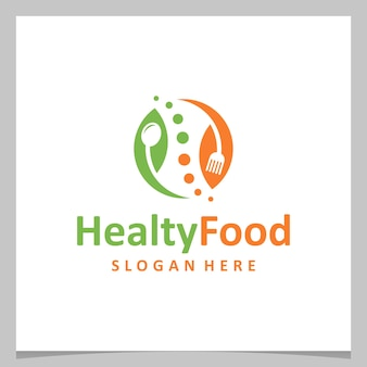 Inspiration logo design healthy food with cutlery and leaf. premium vector