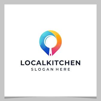 영감 로고 디자인 맵 핀 위치 및 다채로운 로고가 있는 주방 장비. 프리미엄 벡터